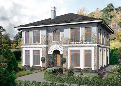 Проект двухэтажного дома 12x12 метров, общей площадью 222 м2, из газобетона (пеноблоков), c котельной