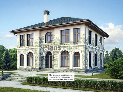 Проект двухэтажного дома 12x12 метров, общей площадью 222 м2, из керамических блоков, c котельной и кухней-столовой