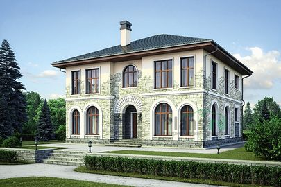 Проект двухэтажного дома 12x12 метров, общей площадью 222 м2, из керамических блоков, c котельной
