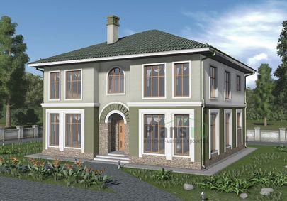 Проект двухэтажного дома 12x12 метров, общей площадью 235 м2, из газобетона (пеноблоков), c котельной
