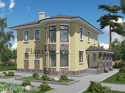 Проект двухэтажного дома 12x13 метров, общей площадью 171 м2, из кирпича, c террасой, котельной и кухней-столовой