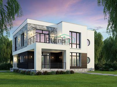 Проект двухэтажного дома 12x13 метров, общей площадью 207 м2, из газобетона (пеноблоков), c террасой, котельной и кухней-столовой