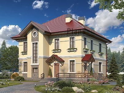 Проект двухэтажного дома 12x13 метров, общей площадью 215 м2, из керамических блоков, c террасой, котельной и кухней-столовой