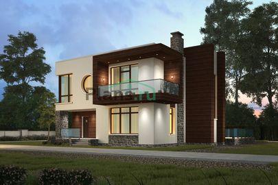 Проект двухэтажного дома 12x13 метров, общей площадью 221 м2, из кирпича, c террасой, котельной, лоджией и кухней-столовой