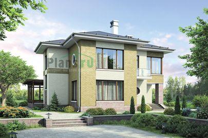 Проект двухэтажного дома 12x14 метров, общей площадью 176 м2, из кирпича, c террасой, котельной и кухней-столовой