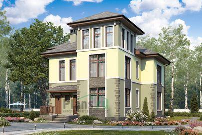 Проект двухэтажного дома 12x14 метров, общей площадью 179 м2, из газобетона (пеноблоков), c котельной и кухней-столовой