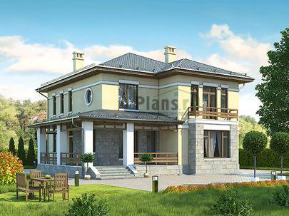 Проект двухэтажного дома 12x14 метров, общей площадью 218 м2, из керамических блоков, c террасой, котельной и кухней-столовой
