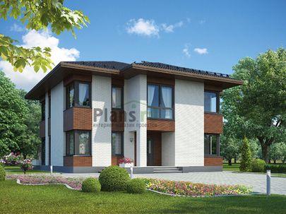 Проект двухэтажного дома 12x14 метров, общей площадью 221 м2, из газобетона (пеноблоков), c террасой, котельной и кухней-столовой