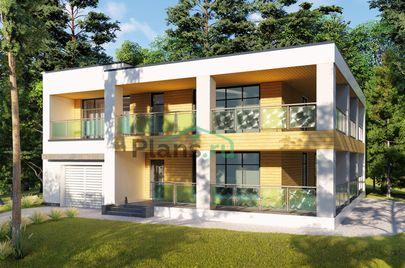 Проект двухэтажного дома 12x14 метров, общей площадью 229 м2, из газобетона (пеноблоков), c гаражом, террасой, котельной и кухней-столовой