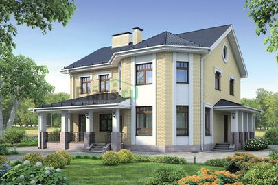 Проект двухэтажного дома 12x14 метров, общей площадью 229 м2, из газобетона (пеноблоков), c террасой, котельной и кухней-столовой
