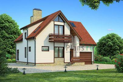 Проект двухэтажного дома 12x15 метров, общей площадью 197 м2, из керамических блоков, c гаражом, террасой и котельной