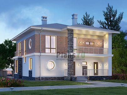Проект двухэтажного дома 12x15 метров, общей площадью 201 м2, из газобетона (пеноблоков), c террасой, котельной и кухней-столовой