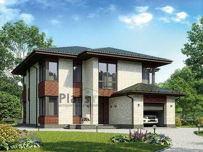 Проект двухэтажного дома 12x16 метров, общей площадью 232 м2, из газобетона (пеноблоков), c гаражом, террасой, котельной и кухней-столовой