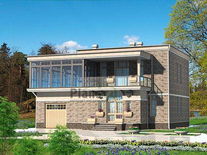 Проект двухэтажного дома 12x18 метров, общей площадью 198 м2, из газобетона (пеноблоков), c гаражом, террасой, котельной и кухней-столовой