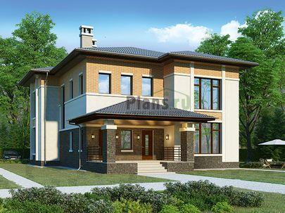 Проект двухэтажного дома 12x20 метров, общей площадью 244 м2, из газобетона (пеноблоков), c террасой, котельной и кухней-столовой