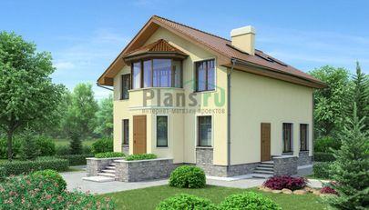 Проект двухэтажного дома 12x8 метров, общей площадью 153 м2, из кирпича, c котельной и кухней-столовой