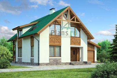 Проект двухэтажного дома 12x9 метров, общей площадью 138 м2, из газобетона (пеноблоков), c гаражом и кухней-столовой