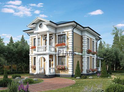 Проект двухэтажного дома 12x9 метров, общей площадью 149 м2, из керамических блоков, c террасой и кухней-столовой