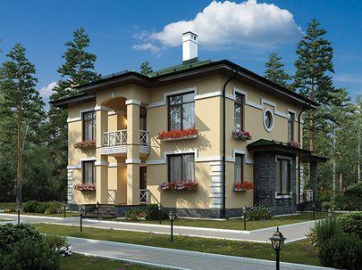 Проект двухэтажного дома 12x9 метров, общей площадью 157 м2, из газобетона (пеноблоков), c террасой, котельной и кухней-столовой