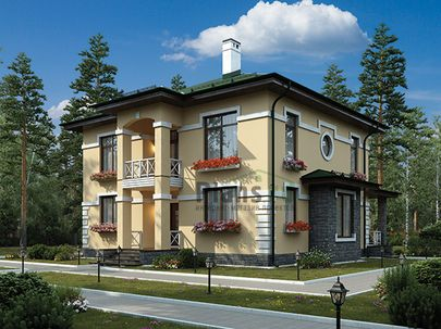 Проект двухэтажного дома 12x9 метров, общей площадью 157 м2, из кирпича, c террасой, котельной и кухней-столовой