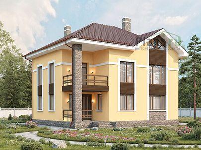 Проект двухэтажного дома 12x9 метров, общей площадью 158 м2, из газобетона (пеноблоков), c террасой, котельной и кухней-столовой