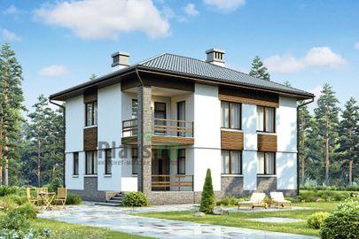 Проект двухэтажного дома 12x9 метров, общей площадью 162 м2, из газобетона (пеноблоков), c террасой и котельной