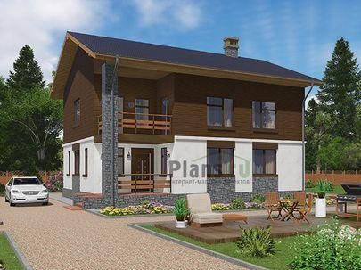 Проект двухэтажного дома 12x9 метров, общей площадью 172 м2, комбинированного типа, c террасой, котельной и кухней-столовой