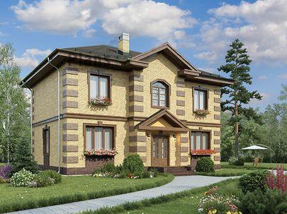 Проект двухэтажного дома 13x10 метров, общей площадью 161 м2, из кирпича, c котельной