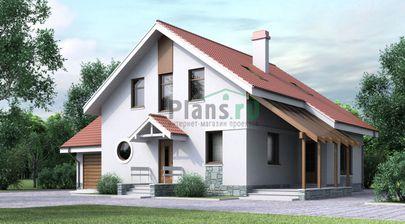 Проект двухэтажного дома 13x10 метров, общей площадью 172 м2, из газобетона (пеноблоков), c гаражом, террасой, котельной и кухней-столовой