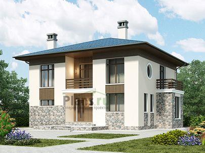 Проект двухэтажного дома 13x10 метров, общей площадью 172 м2, из газобетона (пеноблоков), c террасой, котельной, лоджией и кухней-столовой