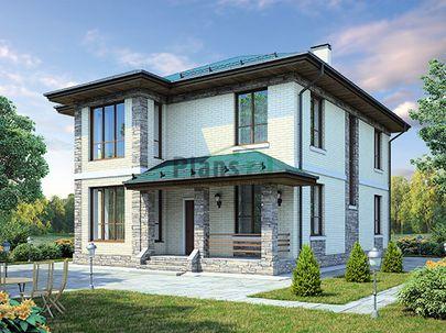 Проект двухэтажного дома 13x10 метров, общей площадью 173 м2, из керамических блоков, c террасой, котельной и кухней-столовой