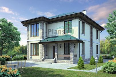 Проект двухэтажного дома 13x10 метров, общей площадью 183 м2, из керамических блоков, c террасой, котельной и кухней-столовой