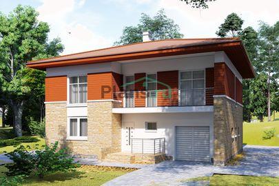Проект двухэтажного дома 13x10 метров, общей площадью 185 м2, из газобетона (пеноблоков), c гаражом, террасой, котельной, лоджией и кухней-столовой
