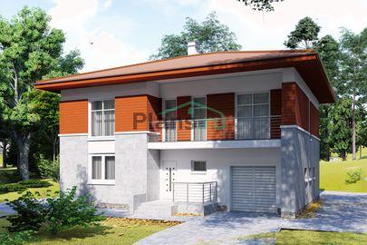 Проект двухэтажного дома 13x10 метров, общей площадью 185 м2, из кирпича, c гаражом, террасой, котельной, лоджией и кухней-столовой
