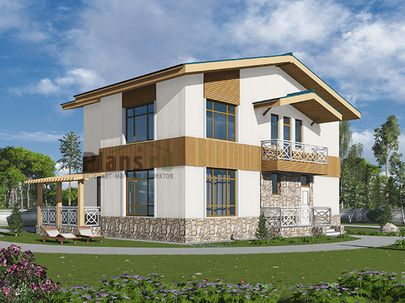 Проект двухэтажного дома 13x10 метров, общей площадью 187 м2, из газобетона (пеноблоков), c террасой, котельной и кухней-столовой