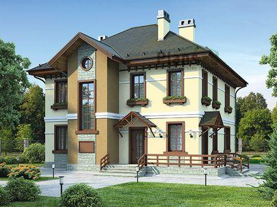 Проект двухэтажного дома 13x11 метров, общей площадью 120 м2, из газобетона (пеноблоков), c террасой, котельной и кухней-столовой