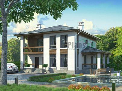 Проект двухэтажного дома 13x11 метров, общей площадью 152 м2, из газобетона (пеноблоков), c террасой и котельной