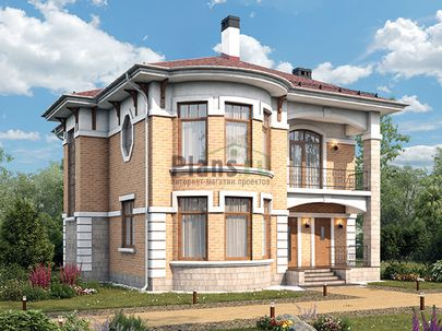 Проект двухэтажного дома 13x11 метров, общей площадью 169 м2, из кирпича, c террасой, котельной и кухней-столовой