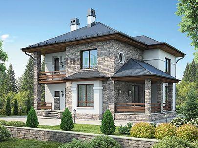 Проект двухэтажного дома 13x11 метров, общей площадью 178 м2, из газобетона (пеноблоков), c террасой, котельной и кухней-столовой