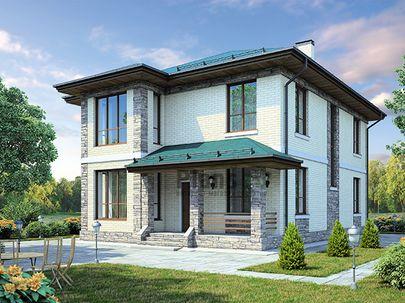 Проект двухэтажного дома 13x11 метров, общей площадью 192 м2, из керамических блоков, c террасой, котельной и кухней-столовой