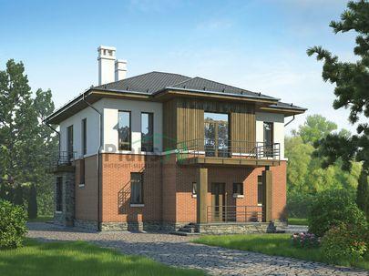 Проект двухэтажного дома 13x11 метров, общей площадью 195 м2, из газобетона (пеноблоков), c террасой и котельной
