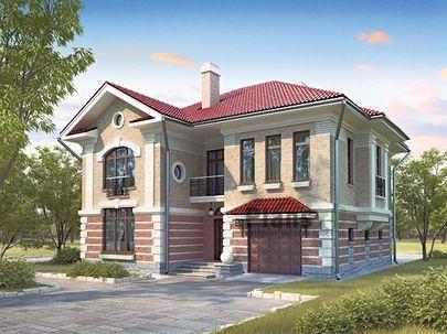 Проект двухэтажного дома 13x11 метров, общей площадью 205 м2, из газобетона (пеноблоков), c гаражом, террасой, котельной, лоджией и кухней-столовой