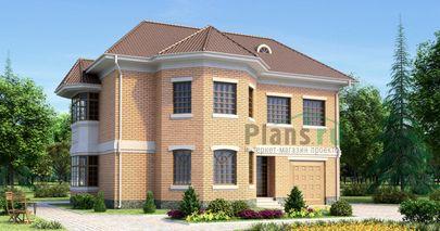 Проект двухэтажного дома 13x11 метров, общей площадью 217 м2, из керамических блоков, c гаражом, котельной и кухней-столовой