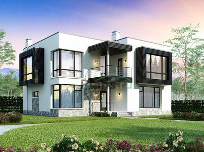Проект двухэтажного дома 13x11 метров, общей площадью 221 м2, из газобетона (пеноблоков), c террасой, котельной и кухней-столовой