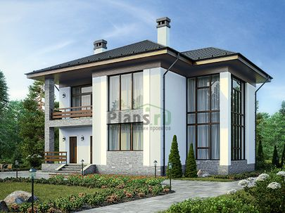 Проект двухэтажного дома 13x12 метров, общей площадью 171 м2, из керамических блоков, со вторым светом, c террасой, котельной и кухней-столовой
