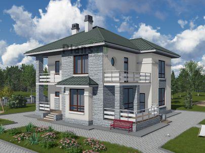 Проект двухэтажного дома 13x12 метров, общей площадью 173 м2, из газобетона (пеноблоков), c террасой, котельной и кухней-столовой