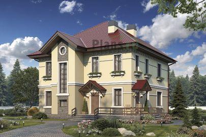 Проект двухэтажного дома 13x12 метров, общей площадью 175 м2, из кирпича, c террасой, котельной и кухней-столовой