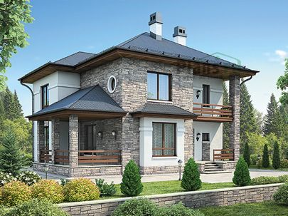 Проект двухэтажного дома 13x12 метров, общей площадью 178 м2, из керамических блоков, c террасой, котельной и кухней-столовой