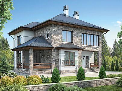 Проект двухэтажного дома 13x12 метров, общей площадью 181 м2, из газобетона (пеноблоков), c террасой, котельной и кухней-столовой