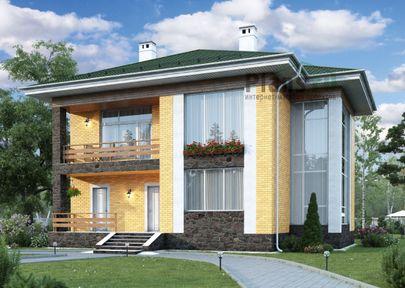 Проект двухэтажного дома 13x12 метров, общей площадью 188 м2, из керамических блоков, со вторым светом, c террасой, котельной и кухней-столовой